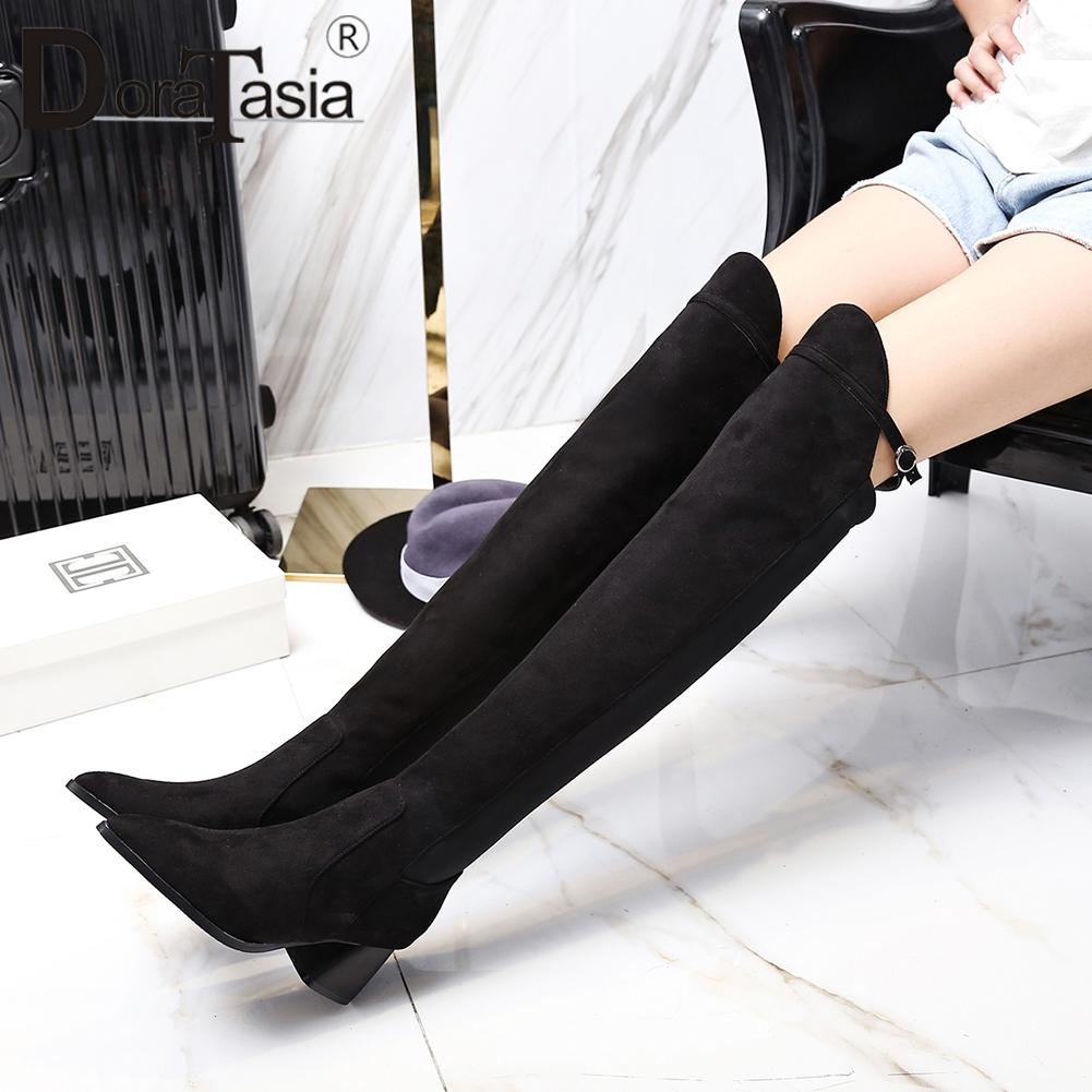 finest fabrics info for best quality DoraTasia Hot Sale Sexy Women Knee High Boots Plus Size 32-48 Pointed Toe  Mixed Color 6cm High Square Heels Long Boots Women