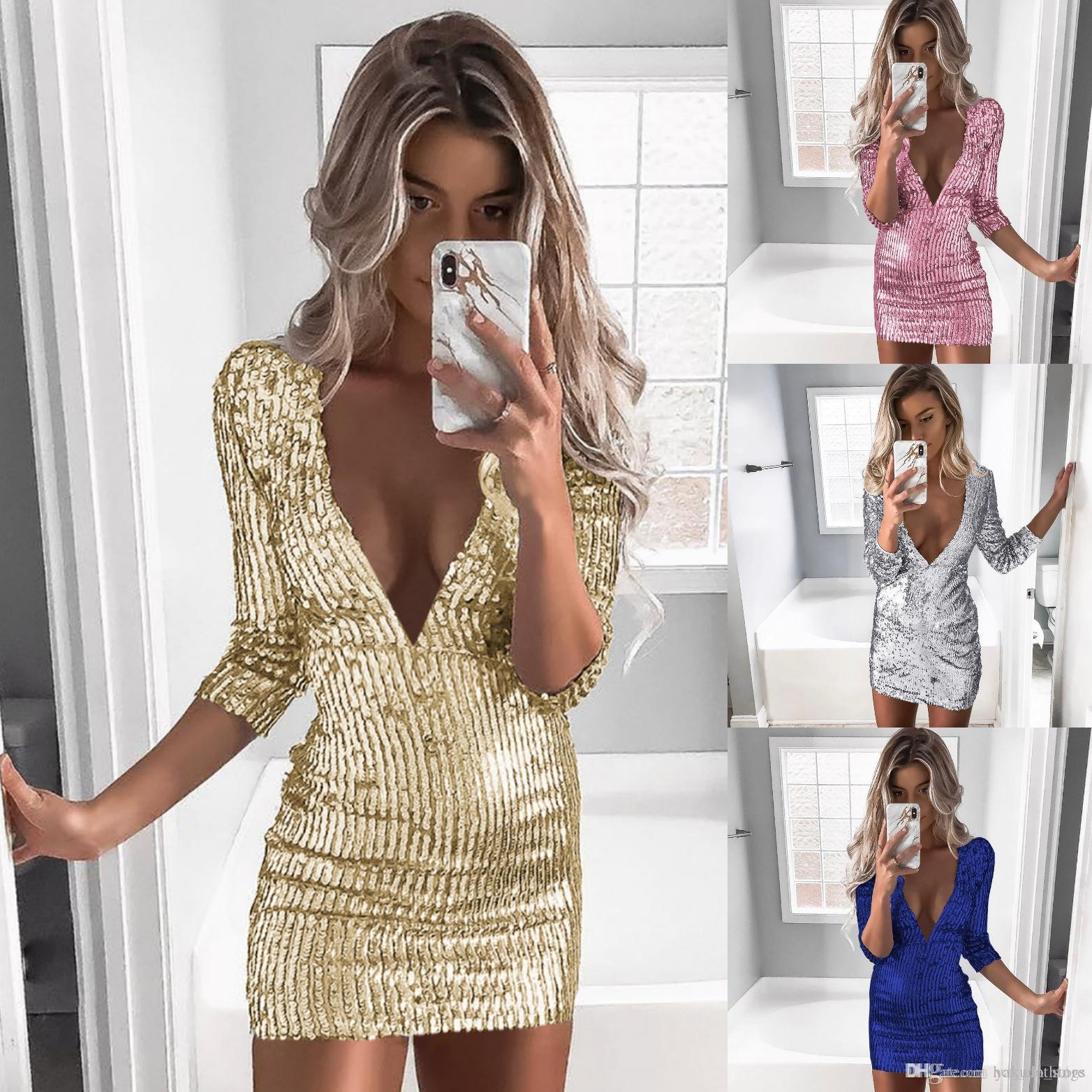 7b9a3350c0 Women Deep V Sequins Dress Wrap Ruched Long Sleeve Sexy Evening Nightclub  Empire Mini Dresses clothes Luxury Party vestido streetwear