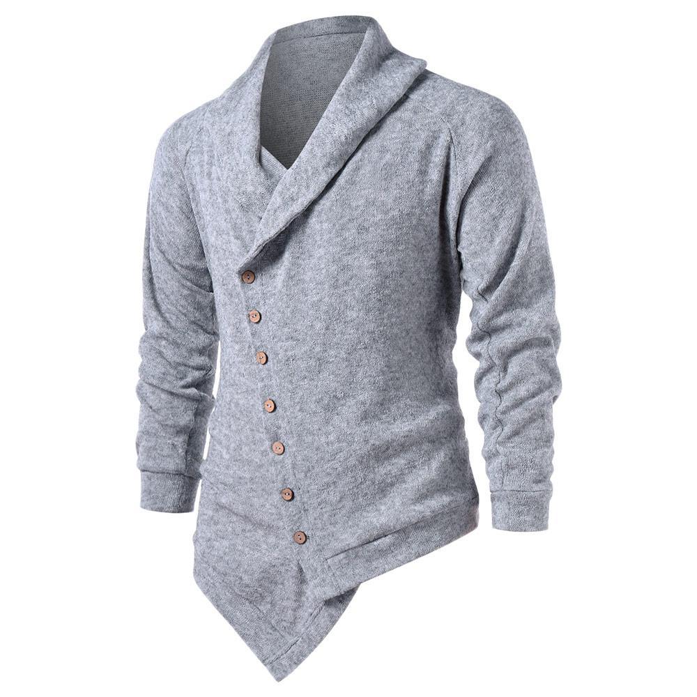 2501b723f9787 2019 Hemiks Men Asymmetric Raglan Sleeve Button Up Cardigan Spring Autumn  Casual Long Sleeve Sweater Male Outwear Jumper Tops From Jerkin, $21.92 |  DHgate.