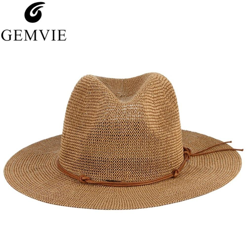f73c50dff8f Breathable Hollow Out Big Large Brim Men Straw Hats Beach Sun Hat  Adjustable Jazz Fedora Cap Male Summer Panama Hats C18122501 Hat World Ladies  Hats From ...