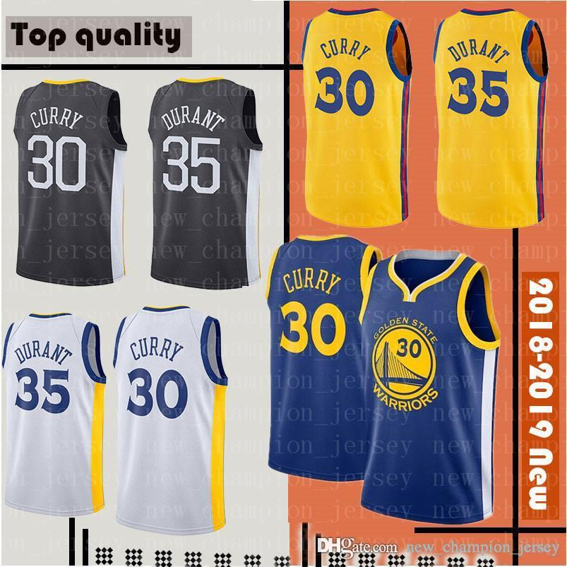 1ac9f46b8 2019 New Golden State Stephen 30 Curry Kevin 35 Durant City Warriors Jerseys  Men S 2018 Finals Basketball Jerseys From New champion jersey