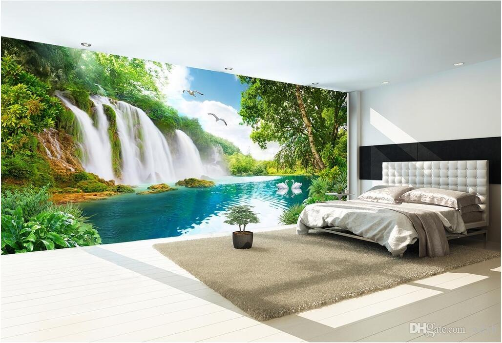 WDBH 3d wallpaper custom photo Beautiful scenery of mountain waterfall tv background home decor 3d wall murals wallpaper for walls 3 d