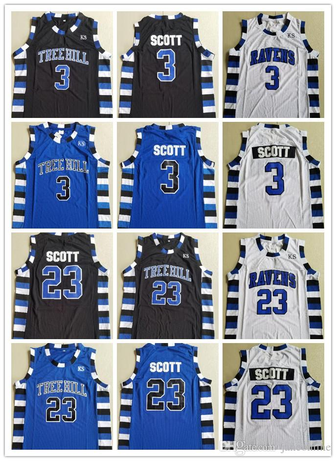 d994b1be3a1 2019 NCAA One Tree Hill Ravens Basketball Jersey The Film Version Of One  Tree Hill 3 Lucas Scott 23 Nathan Scott Black White Blue College Jerseys  From ...