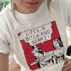 ae0e4b04f00 Hahayule 1980s Vintage Life S A B  ch   So Am I Feminism T Shirt ...