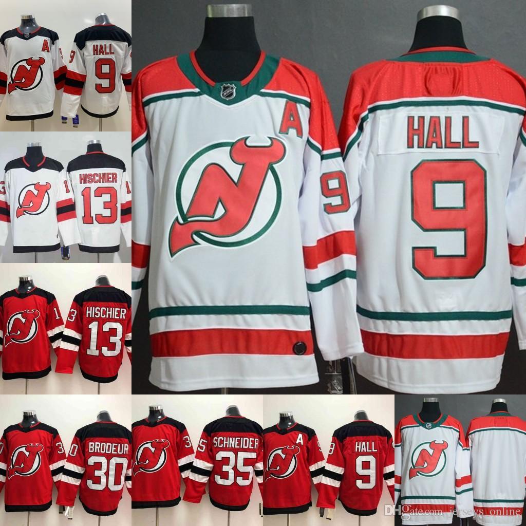 size 40 c8426 c290f 2018 New Jersey Devils 9 Taylor Hall 13 Nico Hischier 30 Martin Brodeur 35  Cory Schneider Hockey Jerseys
