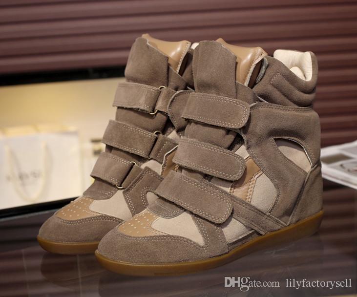 grand choix de 198e4 5e053 Chaussures femme automne hiver véritables bottines en cuir pour femme  hauteur croissante haut chaussures compensées bottes bottes de cowboy Isabel