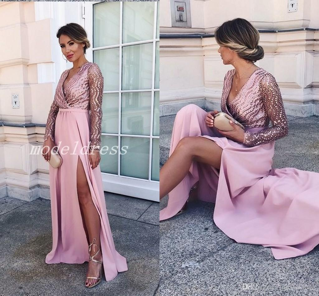 861ca0a59f Pink Long Sleeve Prom Dresses V Neck Side Split Floor Length Beads See  Through Long Formal Women Evening Party Gowns Special Occasion Dress High  Low Prom ...