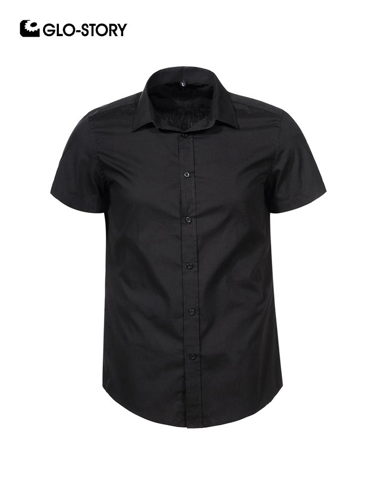 GLO-STORY Summer Short Sleeve Formal Shirts For Men 2019 Plus Size Slim Fit  Black and White Dresses Shirts 3XL-6XL 7884 7886