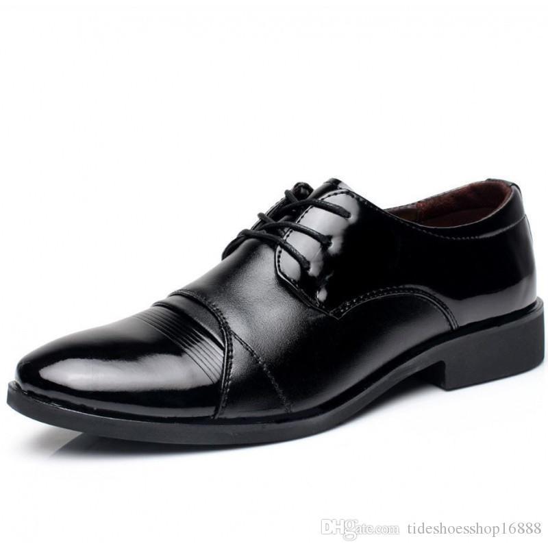 5fd9c09e Compre Nuevos Hombres Zapatos De Vestir Negros De Cuero Casual Para Hombre  Calzado Formal Para Hombre Marca De Lujo Estilo De Negocios Slip On Men  Zapatos ...