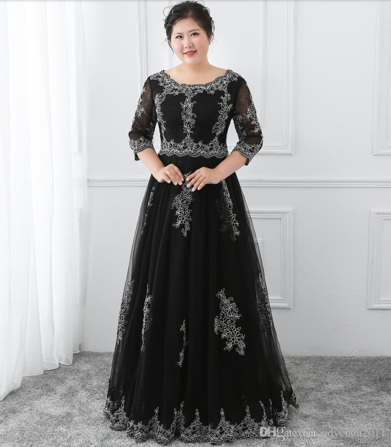 Black Plus Size Mother of the Bride Dresses Long Lace Appliques Half ... c47c0a50c485