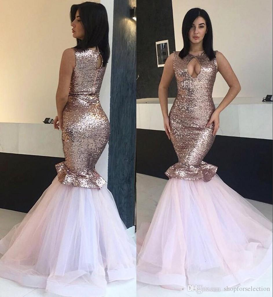 396837a8eca Sexy Rose Gold Sequined Mermaid Prom Dresses 2019 Keyhole Neck Plus Size  Ruffles Skirt Cheap 2k19 Girls Formal Evening Prom Party Gowns Elegant Prom  Dresses ...