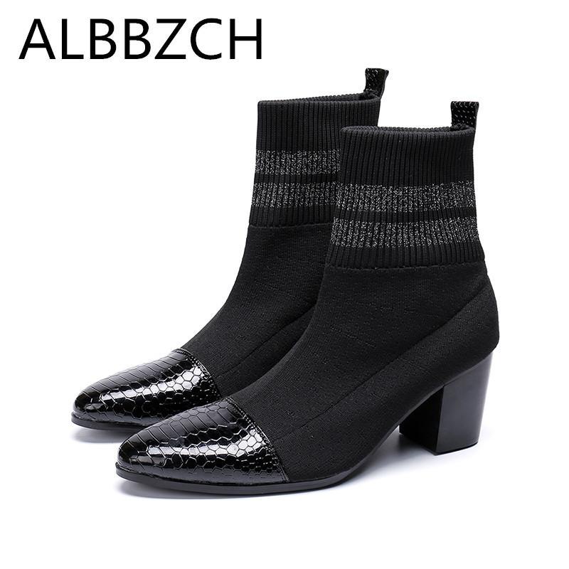 bdb84b6c5a8 Compre Primavera Otoño Para Hombre Botines Chelsea Zapatos De Tacón Alto  Hombres Moda Botines Hombre Martin Negro De Lujo De Alta Superior Zapatos  Casuales ...