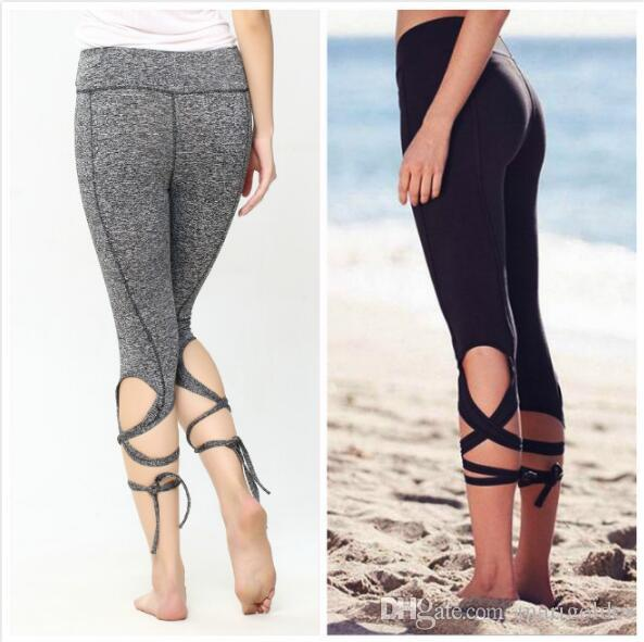 13d098f7d86e8 2019 Fashion Women Leggings Sexy Winding Lace Up Sport Yoga Leggings  Fitness Pants Gym Legging Dance Ballet Tie Wrap Bandage From Marigolder, ...