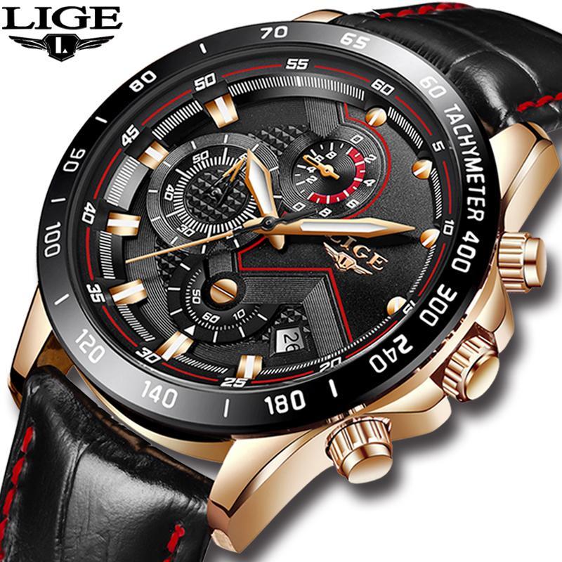 6382e0d6d5ad Compre LIGE Para Hombre Relojes De Primeras Marcas De Lujo Reloj De Cuarzo  De Oro Hombres De Cuero Casual Impermeable Deporte Reloj De Pulsera Relogio  ...