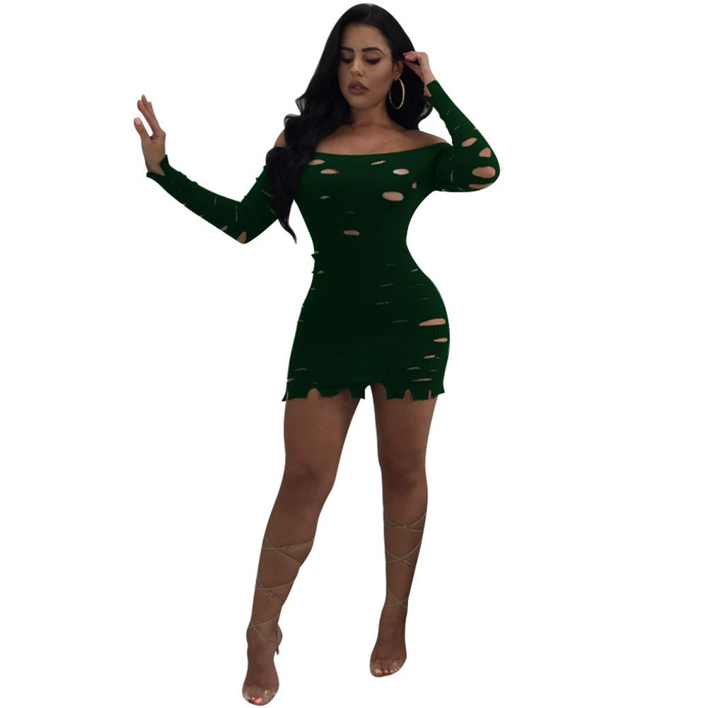 c64230e30beb 2019 New Fashion Sexy Women Bodycon Dress Ripped Hole Slash Neck Long  Sleeves Solid Slim Mini Dresses Black/Burgundy/Green Dresses For Sale Strapless  Dress ...