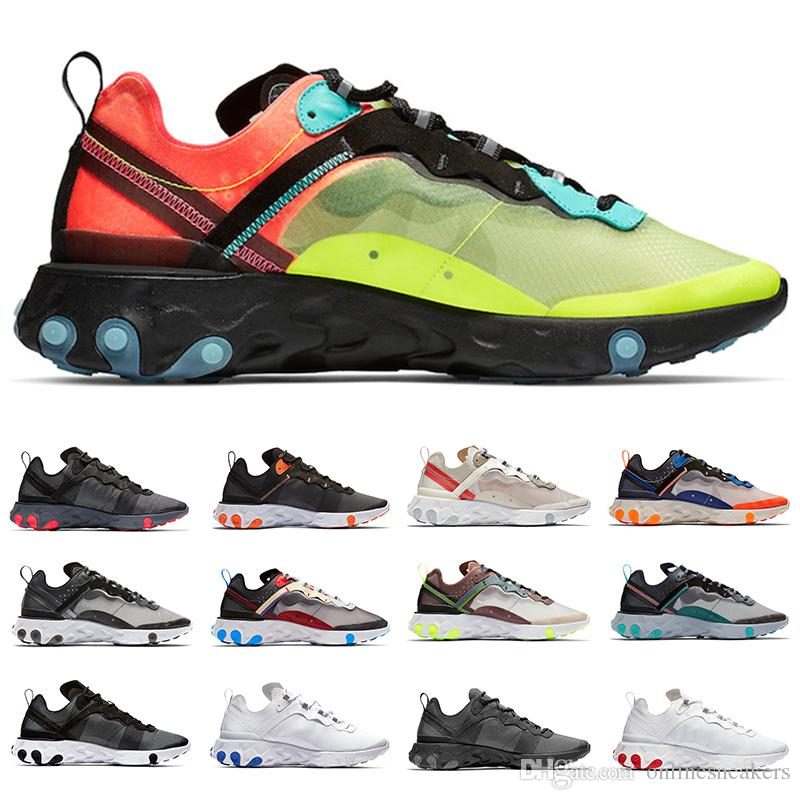 87 React Element 55 Running Shoes For Men Women Volt Triple Black White Game Royal Sail Solar Red Fashion Mens Trainers Sport sneaker