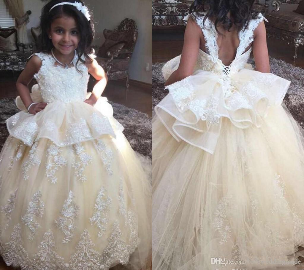 Lovely Lace Ball Gown Flower Girls Dresses For Wedding Sexy Backless Kid Foraml Birthday Party Dresses