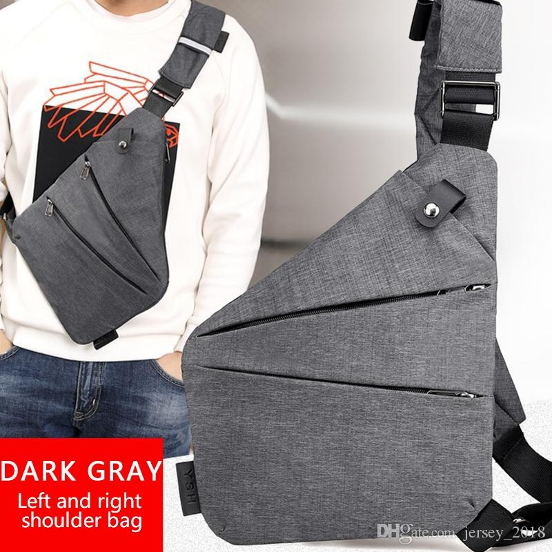 c4a38bd08220 Dark Grey Left/Right Backpack Diagonal Package Zipper Shoulder Bag Sports  Pocket Digital Storage Bag Sandwich Gym #86817