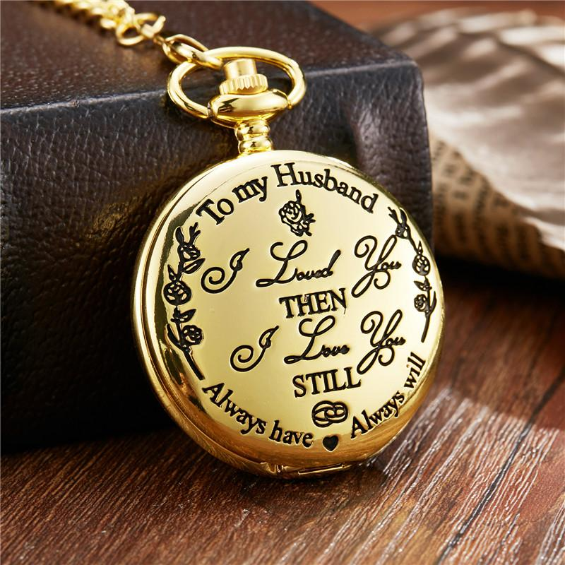 Pocket Watch To My Husband I Love You Gift From Wife Husbnad Birthday Boys Fob Watches Chain Graduation Unique For