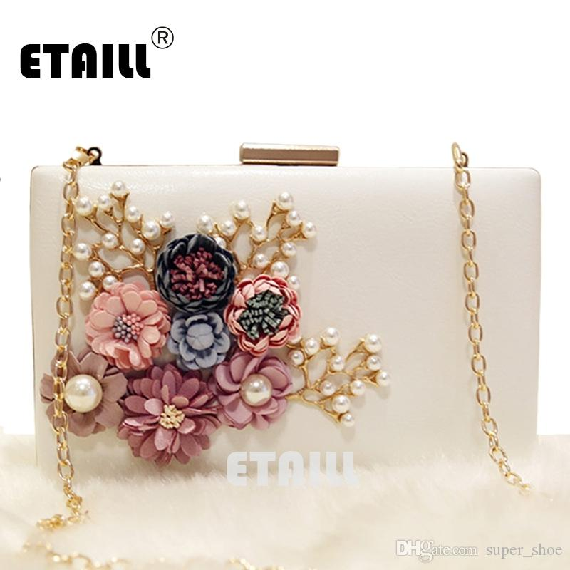 7d0449c7e04 ETAILL Floral Day Clutch Bag White Wedding Bags And Purses For Bride  Evening Bag With Gold Chain Square Party Pearl Banquet #151082 Designer  Handbags ...