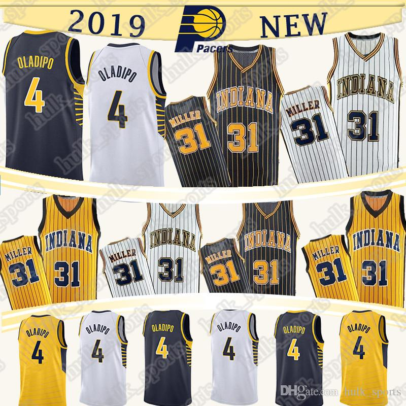 the latest f496b 59076 Indiana 4 Oladipo Pacers jersey 31 Miller hot high quality men retro  basketball jerseys T shirt