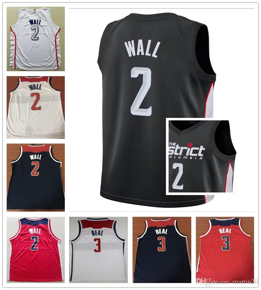 online retailer b08f2 31c74 2019 New City Edition Black 2 John Wall Jerseys Sportswear White Red Navy  Blue 3 Bradley Beal Jersey Stitched Breathable Shirts