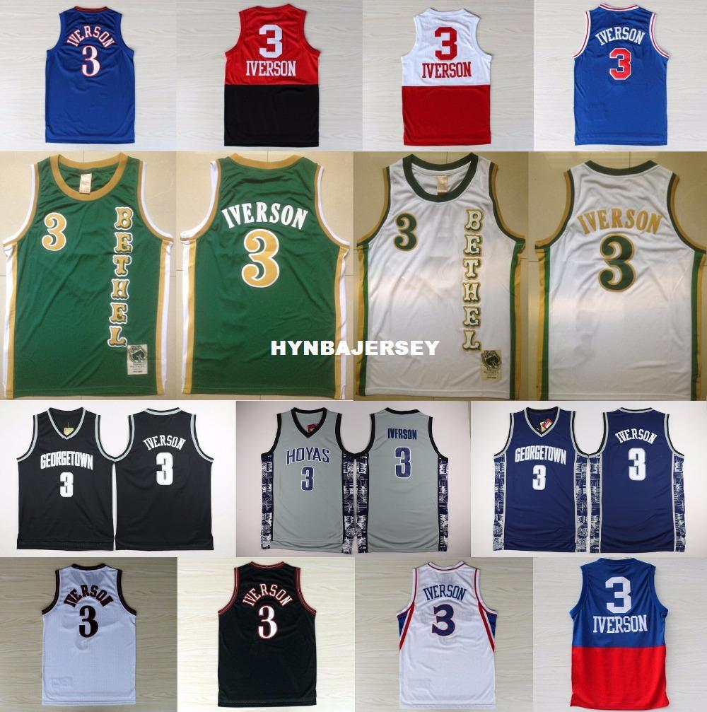 new product 1a238 e1800 3 AI Jersey Georgetown Hoyas Basketball Jerseys AI College Shirt Black Blue  White Red Green Gray Ncaa College