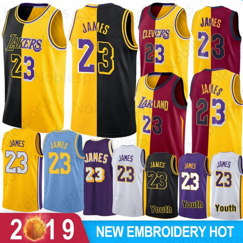 finest selection 492c7 eb660 New Los Angeles LeBron 23 James jersey 2019 2018 Color matching 2 color and  children's jerseys