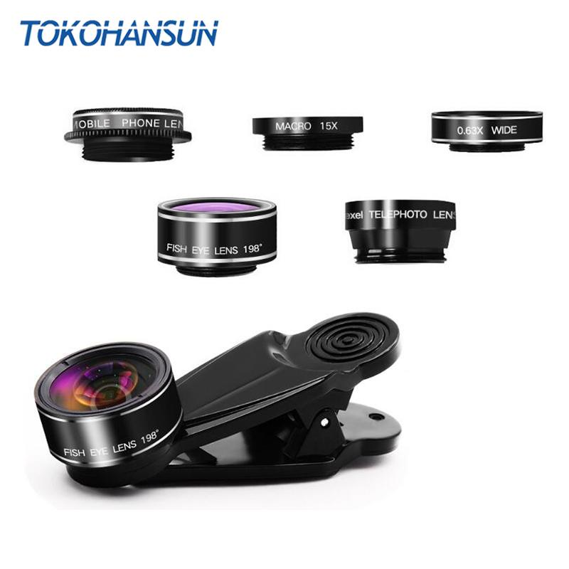 TOKOHANSUN 5 in 1 Phone Camera Lens Kit Fish Eye Wide Angle/macro Lens CPL Kaleidoscope and 2X telephoto zoom Lens for iPhone 7