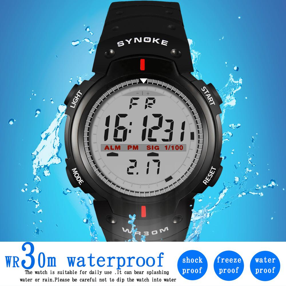 83e033b52e8 Compre SYNOKE Relógios Homens 30 M À Prova D  Água LED Relógio Digital  Homens Esportes Ao Ar Livre Dos Homens De Pulso Cronômetro Relojes Hombre  Dijital Kol ...