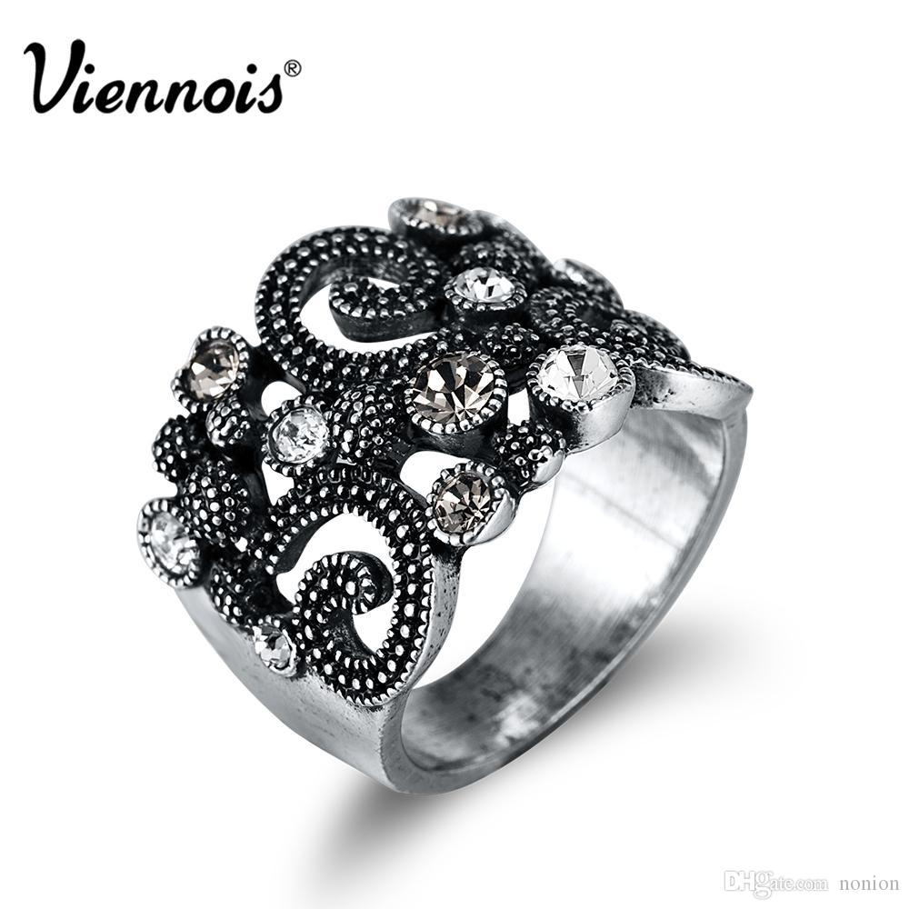 Wholesale- Viennois Silver Color Vintage Cocktail Rings for Woman Rhinestone Paved Lucky China Cloud Totem Party Rings