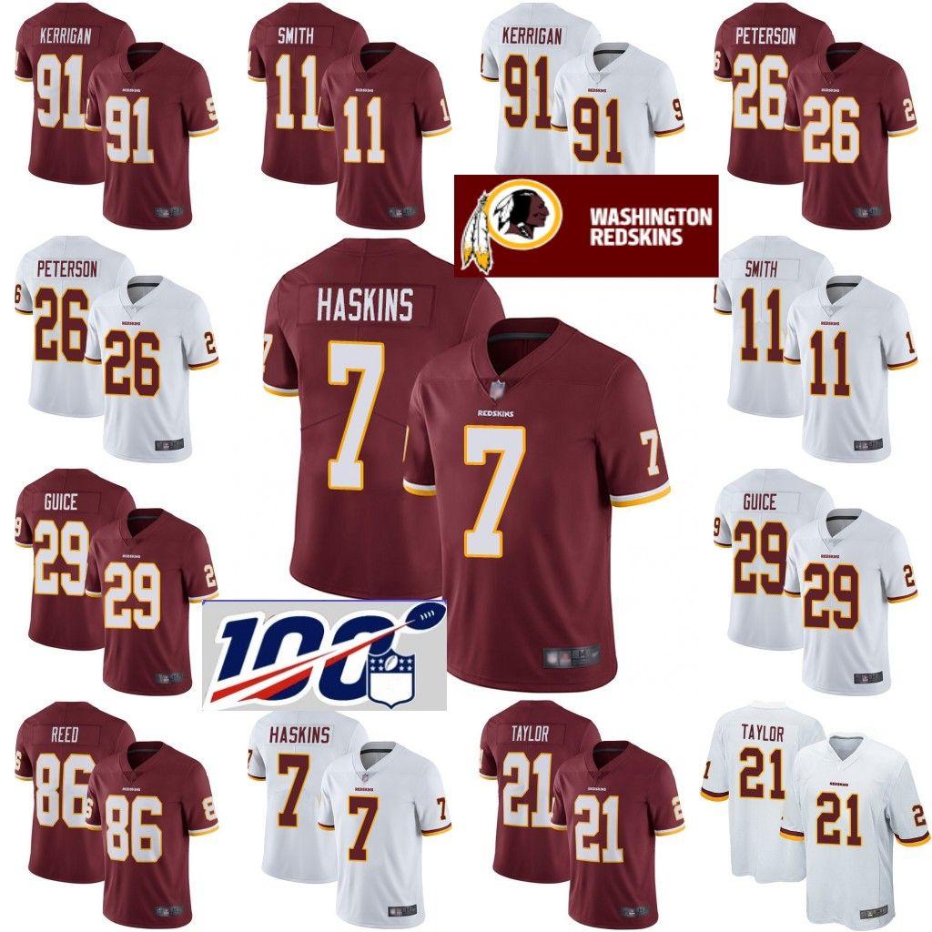pretty nice de759 8e3cb Washington Men s Redskins Jerseys Dwayne Haskins Sean Taylor Ryan Kerrigan  Adrian Peterson Derrius Guic Alex Smith Football Jersey 01