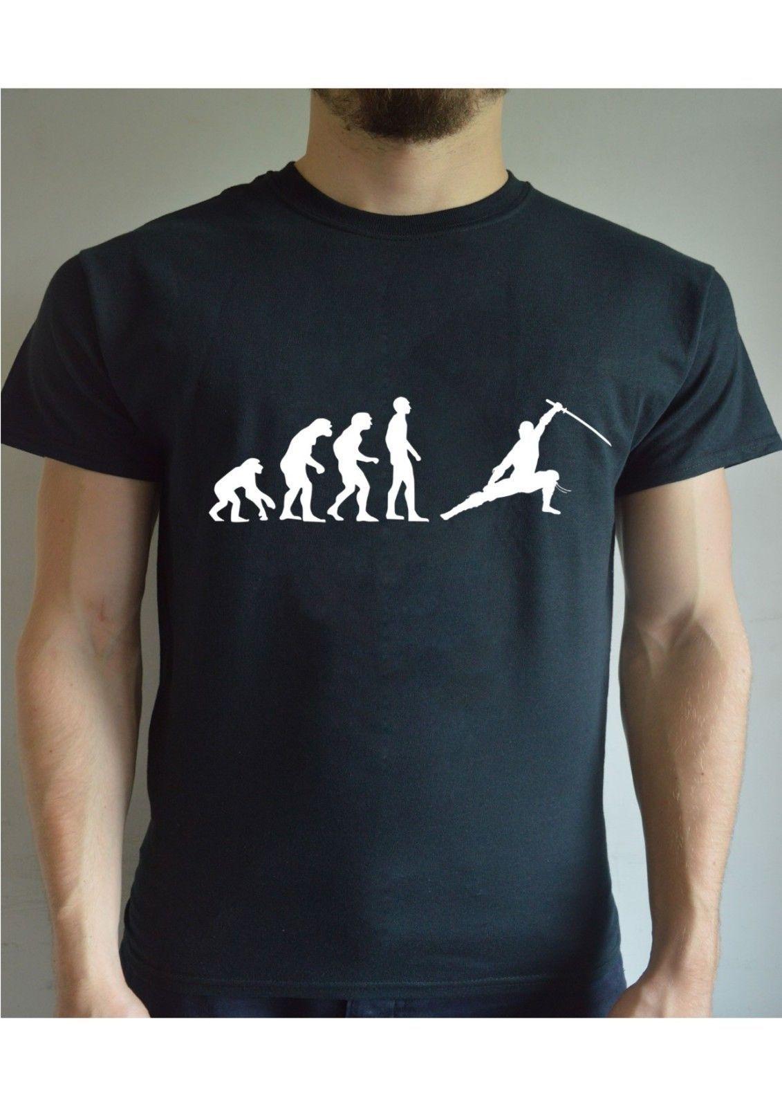 f1c74011b Funny Printed T Shirt Evolution Ninja Sword Martial Arts Christmas Present  Joke 100% Cotton Casual Printing Short Sleeve Men T Shirt Latest T Shirt  Designs ...