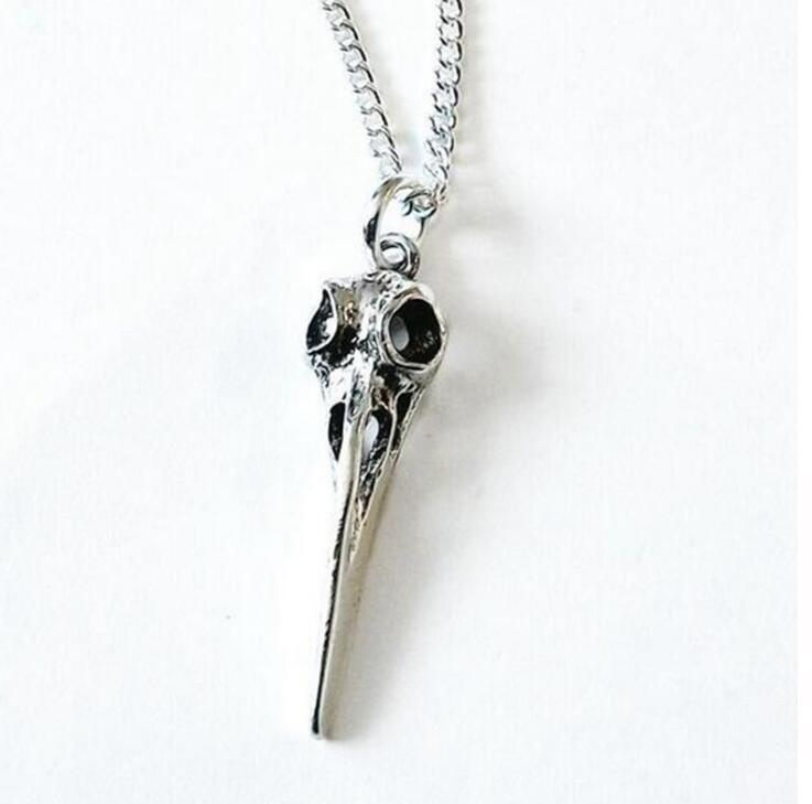 Crow Raven Bird Skull Necklaces Pendants Charms Vintage Silver Statement Choker Necklaces Women Jewelry Halloween Accessories Fashion Gift