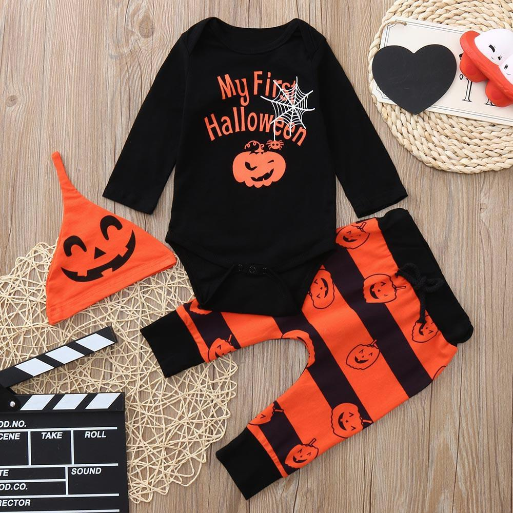 bf5b13f3dc11c good quality 2019 baby clothes set Halloween Clothing Letter Print  Romper+Plaid Print Pants+Hat Winter clothes for children roupas