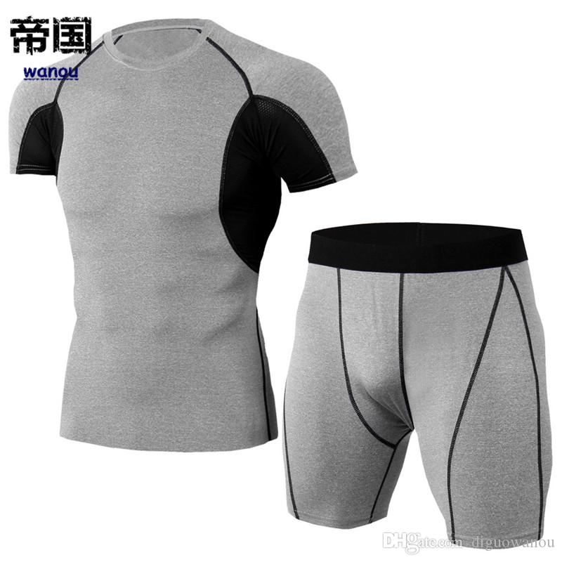 603d121779db8 Sportswear Bodysuit Men NEW T Shirt Shorts Light Gray Fitness Sports  Workout Running Basketball Elastic Quick Dry Breathable Activewear  Ridiculous Shirts ...