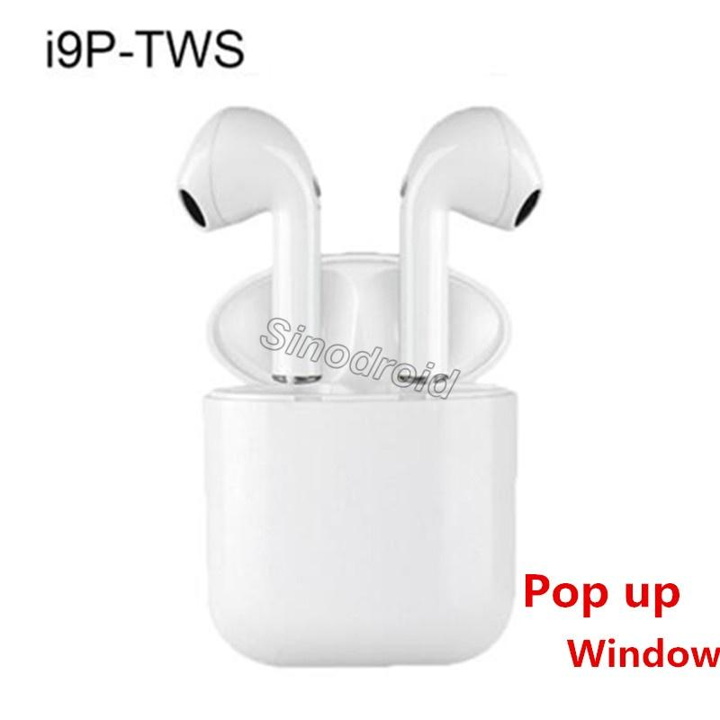 Pop up i9P TWS Wireless Stereo Earphone Portable 5.0 Bluetooth Headset Earbuds for Smart Phone i9P Wireless Headphone for All Smartphones