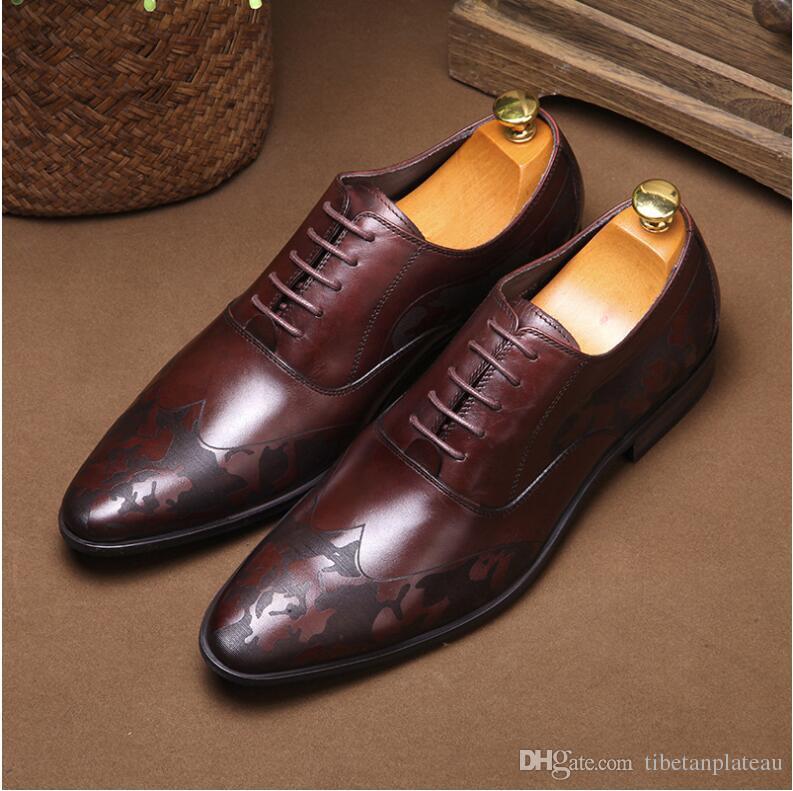 efec9d148e Compre 2019 Hombres De Negocios Formales Zapatos De Cuero Genuino Diseño  Tendencia Marrón Zapatos Para Hombre A  100.51 Del Tibetanplateau