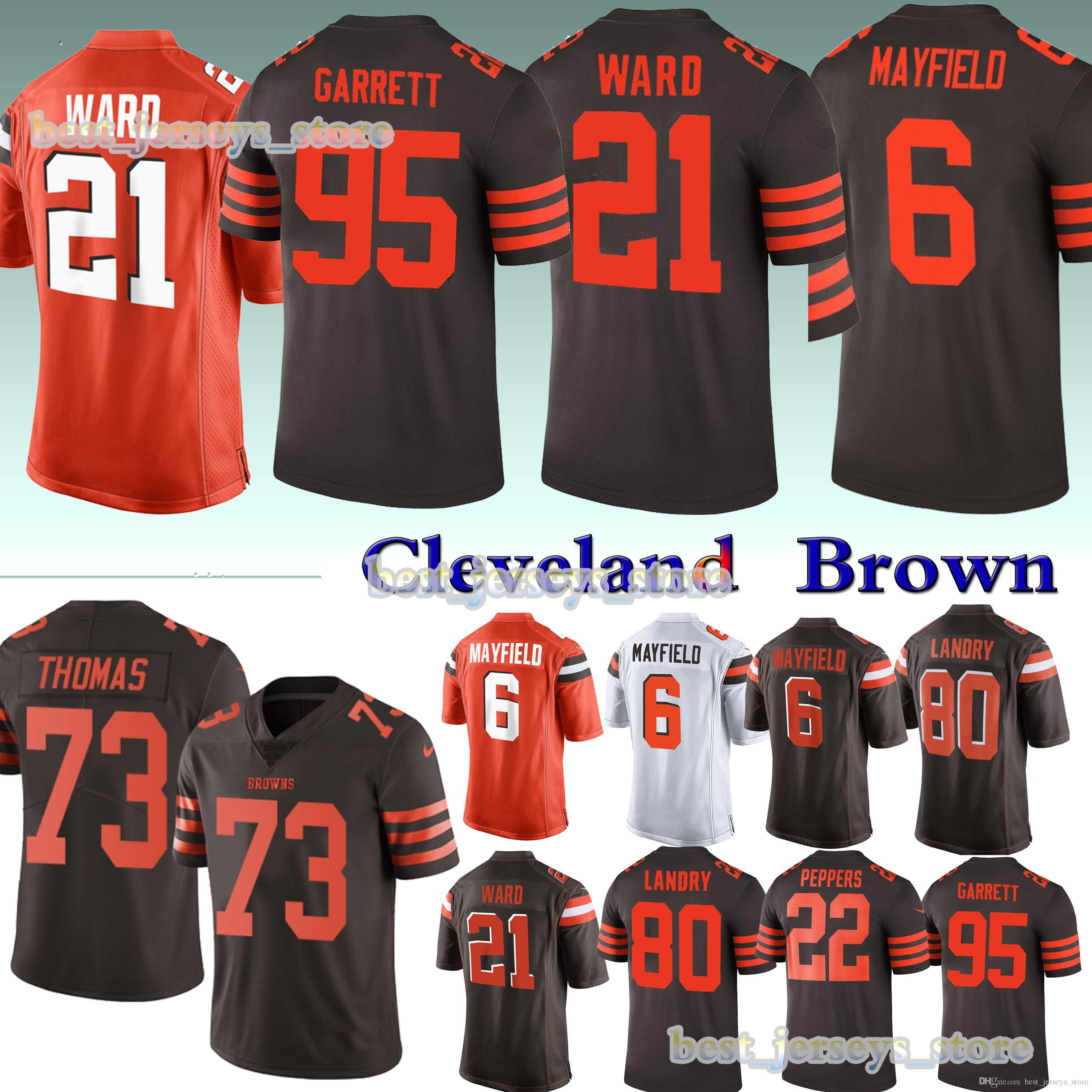online retailer 4cd17 e3057 6 Baker Mayfield 21 Denzel Ward 13 Odell Beckham Jr Cleveland jerseys Brown  95 Myles Garrett 80 Jarvis Landry Design sweater men