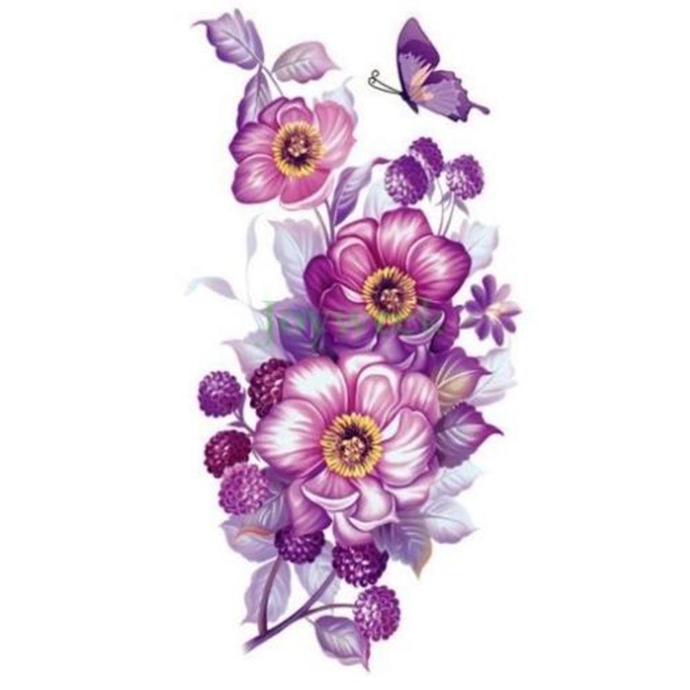 74fa51747f157 For Women 17 Designs Waterproof Temporary Sticker Purple Orchid Flowers  Body Art Tatto Stickers Flash Tatoo Fake Tattoo For Women Left Handed Tattoo  ...