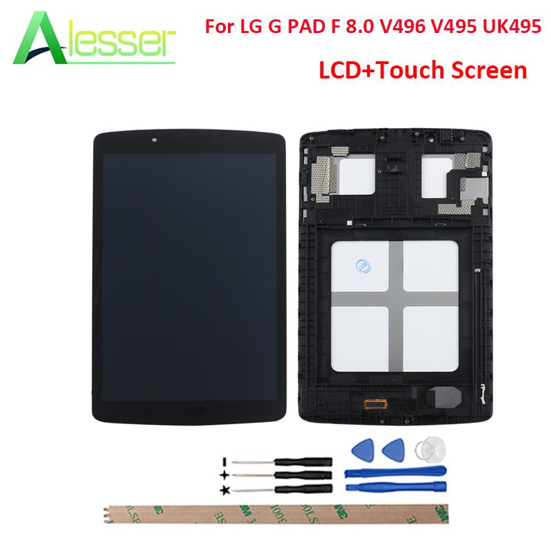 Alesser For LG G PAD F 8 0 V496 V495 UK495 LCD Display And Touch Screen  Screen Digitizer For LG G PAD F 8 0 V496 V495 With Tools