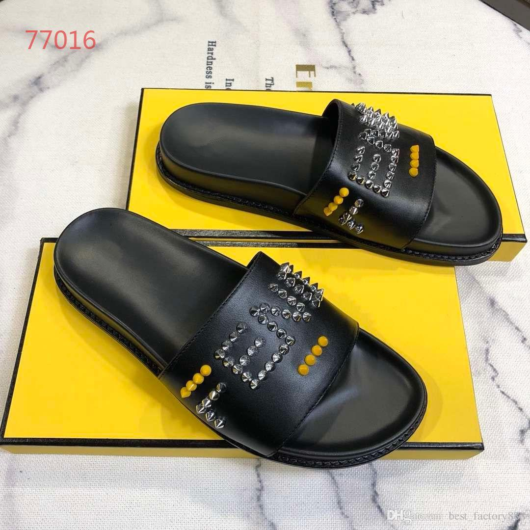7156ee4c8bd4e9 2019 New Arrival High-end Men's Slippers Fashion Rivet Letters Top ...