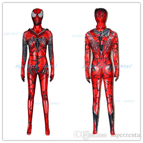 781187d6b Carnage Gwen Spider Girl Cosplay Costume Hoodie Zentai Bodysuit Spiderman  Catsuit Spider Gwen Stacy Cosplay Costume Family Halloween Themes Best  Costume ...