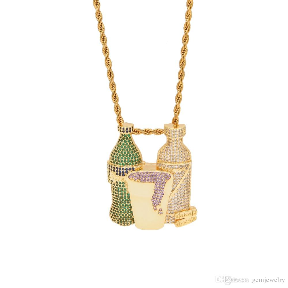 Iced Out Sprite Bottle Purple Cup HipHop Combo Pendant Necklace Gold Silver Color Cubic Zircon Men's Jewelry