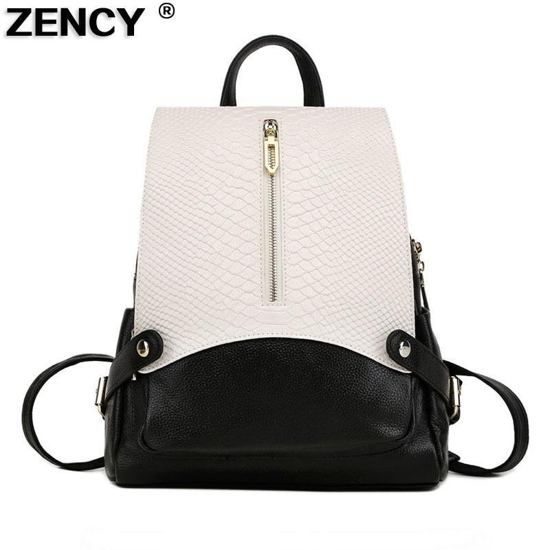 e2938a7dd74a 2019 FashionFamous Brand Fashion Genuine Leather Crocodile Pattern Women S  Backpacks Ladies  School Bag Female Cowhide Designer Backpack Waterproof  Backpack ...