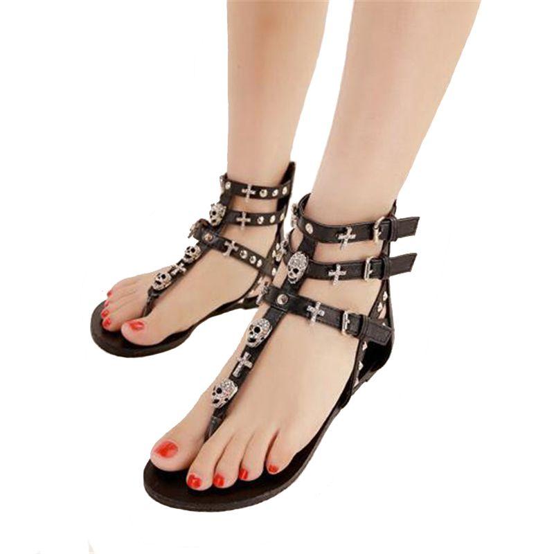 d149d7a85 COVOYYAR 2019 Rivets Gladiator Women Sandals Skull Flip Flops Beach Summer  Flat Black Women Lady Shoes Plus Size 40 WSS738 Sandles Wedge Booties From  ...