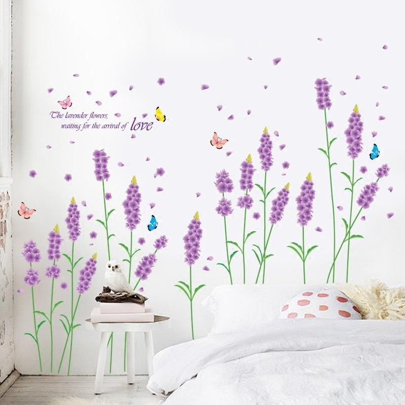 Lavendel Wandaufkleber Schlafzimmer Dekoration Romantische Wohnzimmer Sofa  TV Hintergrund Schrank Aufkleber aufkleber für wände