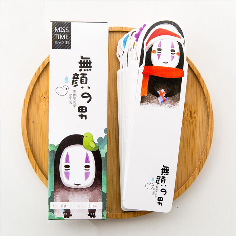 30pcs/box Japan Animation Gift Bookmarks Marker Stationery Gift Realistic  Kawaii Cartoon Bookmarks Office School Supply