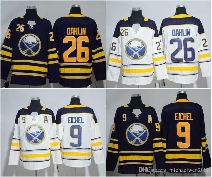 outlet store 6d110 473d1 9 Jack Eichel Jersey Mens Buffalo Sabres 26 Rasmus Dahlin Hockey Jerseys  White Blue High Quality Free Shipping