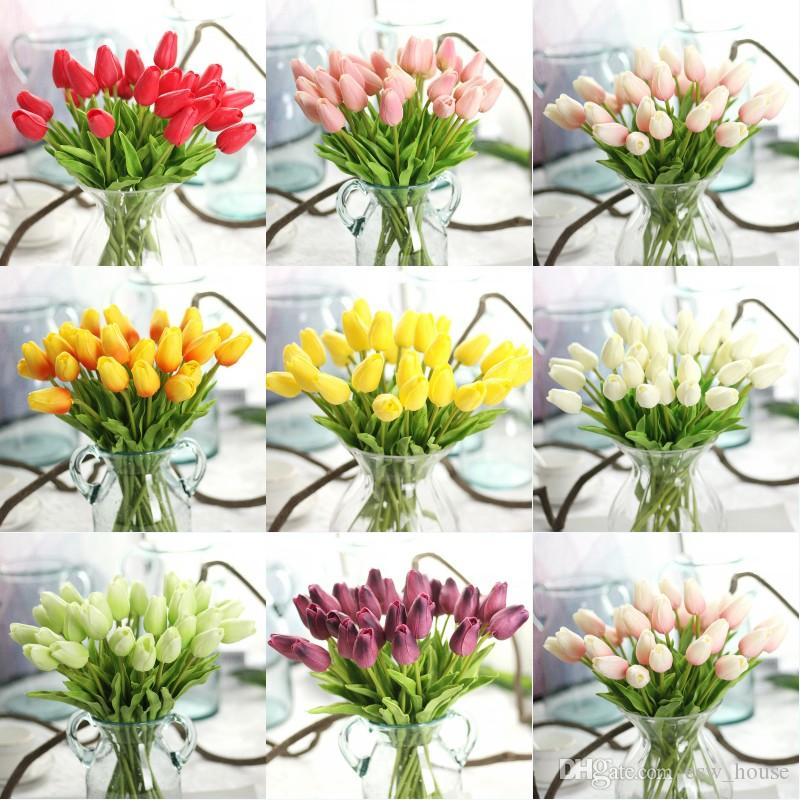3c06253f2acb Acquista Tulipani Artificiali Del Fiore Del Tulipano Di Mini Tulipani Reali  Di Tocco Dei Tulipani Dell unità Di Elaborazione Del Fiore Di Cerimonia  Nuziale ...
